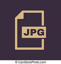 de, jpg, icon., bestand, formaat, symbool., plat