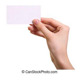 de kaart van het document, in, vrouw, hand, vrijstaand, op...