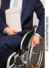 de kandidaat van de baan, in, een, wheelchair