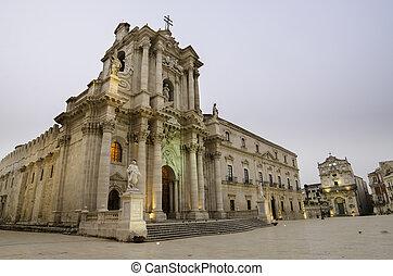 de kathedraal, van, syracuse, sicilië