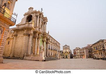 de kathedraal, van, syracuse, sicilië,