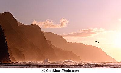 de, kauai, tempestuoso, na, pali, ocaso, litoral, mar