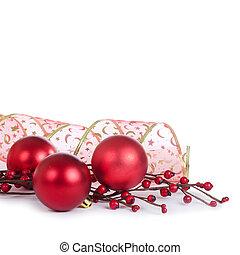 de, kerstboom, bal, vrijstaand, achtergrond