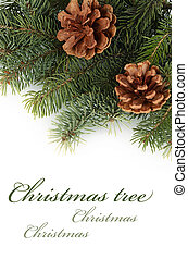de, kerstboom, vrijstaand, op wit