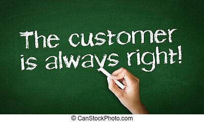 de klant is altijd juist, krijt, illustratie