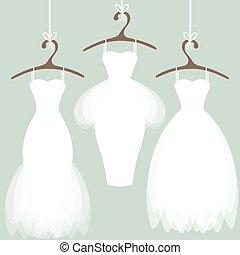 de kleding van het huwelijk, op, hangers