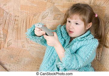 de, klein meisje, pers, de, televisie, paneel