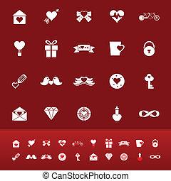 de kleur van de liefde, iconen, op, rode achtergrond