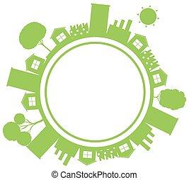de kleur van gebouwen, huisen, thema, groene aarde