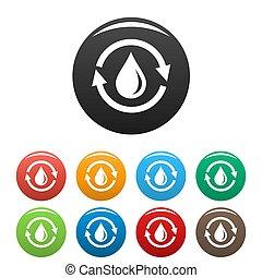 de kleur van het water, set, besparing, iconen