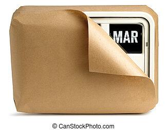 de klok van de muur, en, kalender, gewikkelde in bruin papier, vrijstaand, op, een, witte achtergrond, het tonen, maart