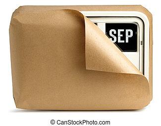 de klok van de muur, en, kalender, gewikkelde in bruin papier, vrijstaand, op, een, witte achtergrond, het tonen, september