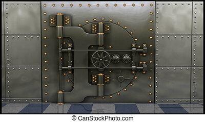 de kluis van de bank, opening
