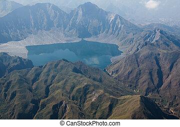 de, krater, van, mt., pinatubo, van de lucht, filippijnen