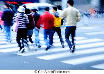 de kruising van straat, zebra, mensen