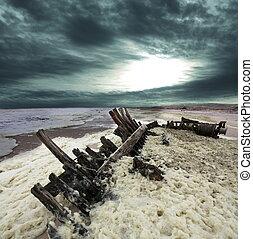 de kust van het skelet
