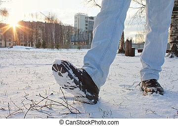 de laarzen van de sneeuw