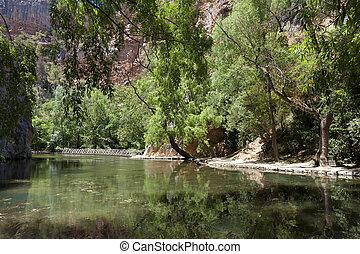 de, lac, piedra, monasterio, miroir, espagne, zaragoza