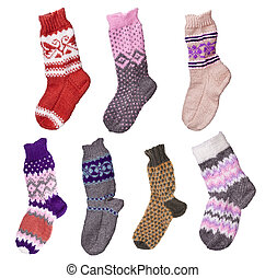 de lana, calcetines, hand-knitted