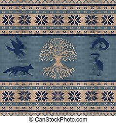 de lana, celta, animales, árbol, ornamento, seamless, tótem, tejer, vida