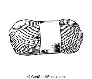 de lana, grabado, knitting., hilo, vendimia, hilo, vector,...