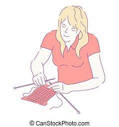 de lana, mujer, tejido de punto, carácter, aislado, agujas, hilos, hembra