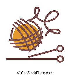 de lana, pelota, tejido de punto, largo, agujas, hilos