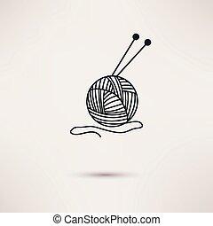 de lana, plano, hilo, diseño, vector., agujas