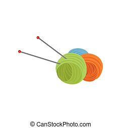 de lana, plano, knitting., pelota, metal, tres, hilo, dos, vector, hilos, diseño, needles., lana, herramientas, handicraft.