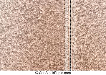 de, leder, textuur, achtergrond, in, de, licht bruin, toon, met, de, zipper