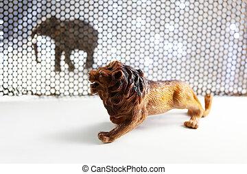 de, leeuw, en, elefant, model, door, staal, rooster, achtergrond
