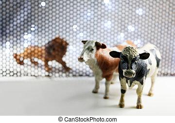 de, leeuw, en, koe, model, door, staal, rooster, achtergrond.