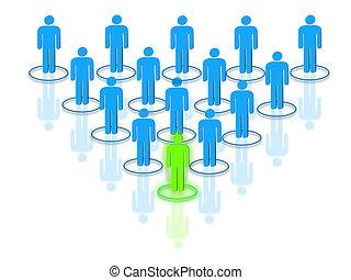 de leider van het team, het regelen, personeelsbestand, concept, met, interconnected, menselijk, gevormd, silhouettes