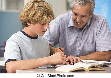 de leraar van de school, hoog, instrueren, stand,...
