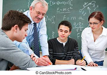 de leraar van de school, hoog, scholieren