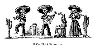 de, los, ダンス, 死んだ, 衣装, 国民, dia, プレーしなさい, muertos., 日, メキシコ人, guitar., 歌いなさい, スケルトン