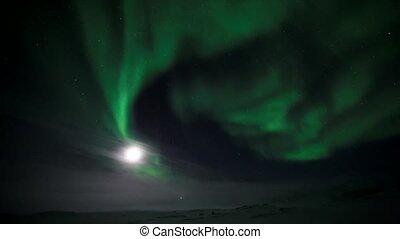 de maan, en, de, noorderlicht