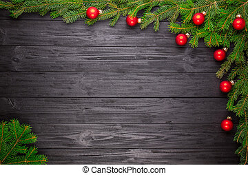 de madera, árbol, navidad, fondo negro, abeto