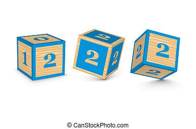 de madera, 2, bloques, número, vector