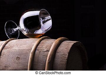 de madera, aguardiente, coñac, barril, o