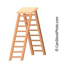 de madera, aislado, escalera, icono
