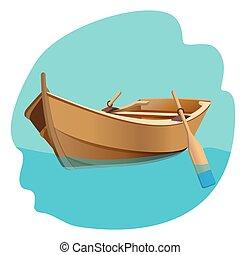 de madera, aislado, ilustración, vector, remos, barco,...