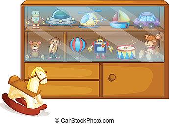 de madera, al lado de, caballo, juguete, gabinete