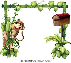 de madera, al lado de, mono, balanceo, buzón