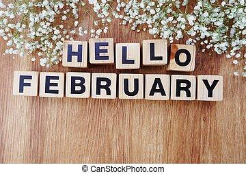 de madera, alfabeto, cartas, plano de fondo, febrero