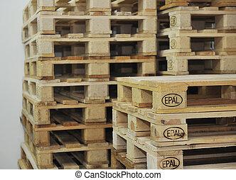 de madera, almacén, paletas