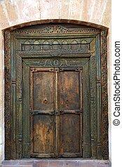 de madera, antiguo, puerta, indio, oriental