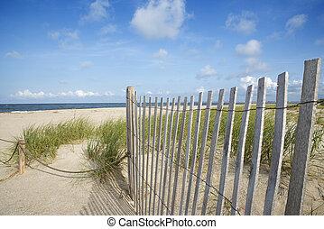 de madera, arena, cerca, resistido, dune.