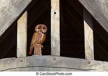 de madera, búho
