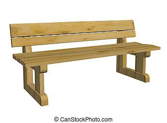 de madera, banca de parque, ilustración, 3d